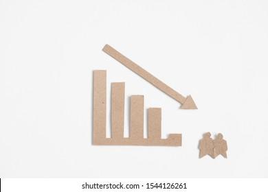 population decline bar graph on white background