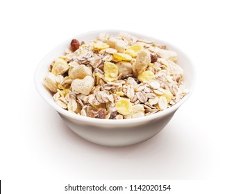 Porcelain bowl full of cereal musli isolated on white background