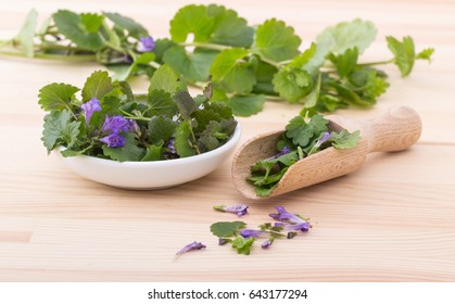 Porcelain bowl and wooden spoon with fresh ground ivy