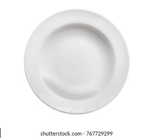 Porcelain or ceramic white plate, ordinary, isolated on a pure white background