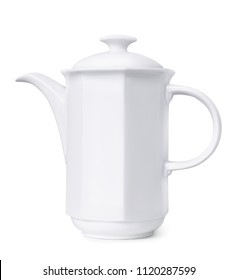 Porcelain coffee pot isolated on white