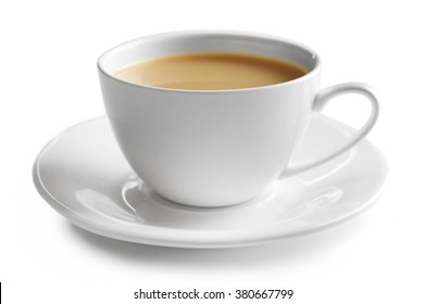 Porcelain cup of tea with milk isolated on white background