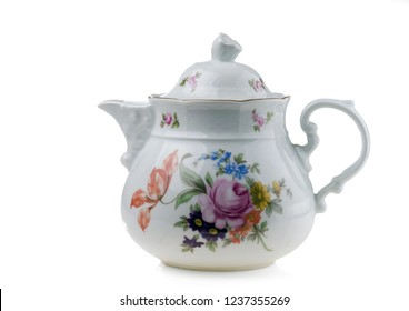 Porcelain teapot isolated on white background.