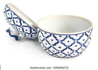 Porcelain white pottery bowl draw a pineapple blue pattern with lid art style asian  on white background isolated