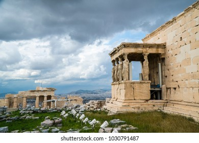 The Porch of the Caryatids, Erechtheion or Erechtheum, Acropolis of Athens in Greece