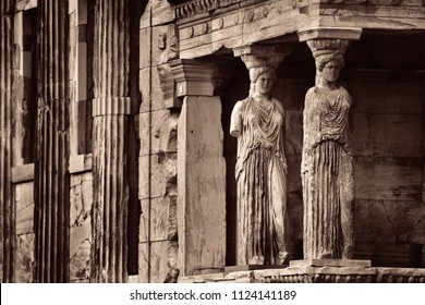 The Porch of the Caryatids of Erechtheion Temple in Acropolis in Athens, Greece.
