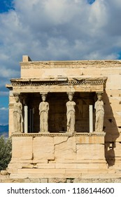 Porch of the Caryatids at Erechtheion temple,Acropolis of Athens,Greece
