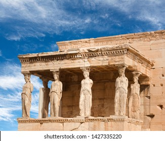 Porch of the Caryatids at famous ancient Erechtheion Greek temple on the north side of the Acropolis of Athens in Greece which was dedicated to both Athena and Poseidon.
