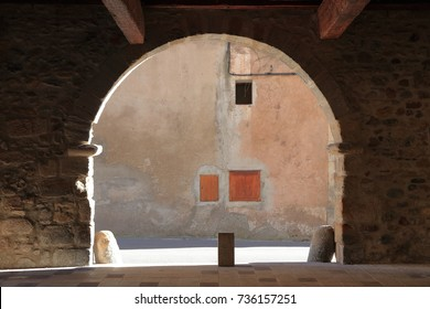 porch in a french village of Alet les bains in Aude, Occitanie in south of France