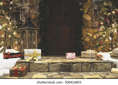 Porch house decorated for winter Christmas holidays