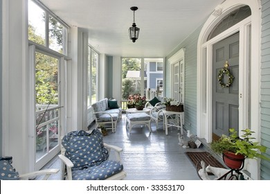 Porch in large suburban home