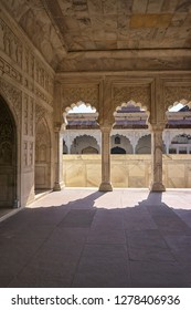 Porch made of marble in Red Fort, Agra, India.