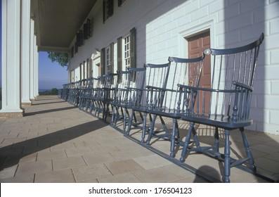Porch at Mt. Vernon, home of George Washington, Mt. Vernon, Alexandria, Virginia