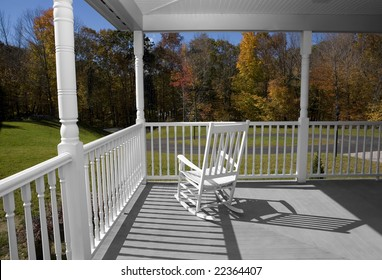A porch in New England in the Fall.