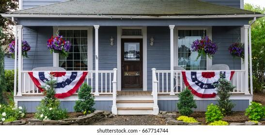 A Porch With Patriotic Decorations