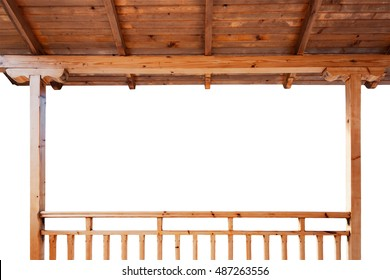 Porch roof and railings made of wood isolated on white background
