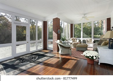 Porch in suburban home with access to patio