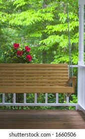 Porch Swing with Hibiscus flowers