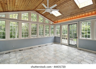 Porch with wall of windows