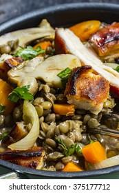 Porcini mushrooms with pork and lentils