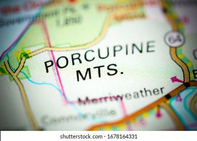 Porcupine Mountains. Michigan. USA on a map