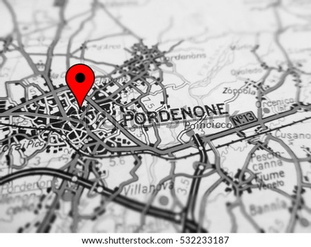 Pordenone City Over Road Map Italy Stock Photo Edit Now 532233187