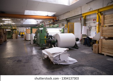PORDENONE, ITALY - March 3, 2017 - Italian paper mill that produces fine and technical papers suit every printing technique and conversion - Continuous machine.