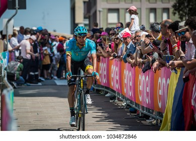 Pordenone, Italy May 27, 2017: Professional cyclist of the Astana Pro team transferring from the bus to the podium signatures before the start for a tough mountain stage of the Giro D'Italia 2017.