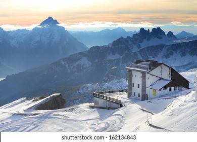 Pordoi Refuge in teh Dolomites, Italy, Europe