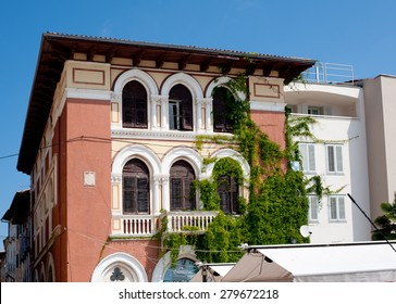 Porec, Croatia - august 04,2014,View on old building on the street Obala marsala Tita, Porec, Croatia