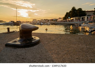 POREC, CROATIA – JULY 17, 2018: Detail in the port of Porec on the coast of the Adriatic in Croatia. Porec is one of the most popular port cities in Croatia.