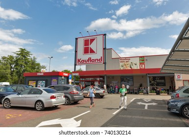 POREC, CROATIA - SEPTEMBER 12, 2017: Unrecognized people visit Kaufland store. Kaufland is a German hypermarket chain and part of the Schwarz Gruppe which also owns Lidl.