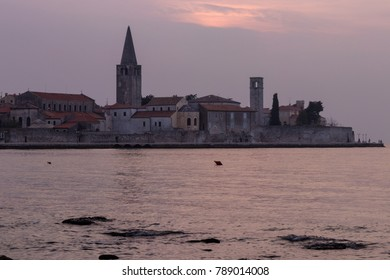 Porec, a famous small town in Istria, Croatia, seen at sunset.