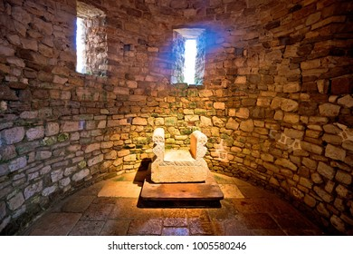 Porec, Istria - January 9, 2018: Ancient Byzantine Empire period artefact in Euphrasian Basilica, UNESCO world heritage site in town of Porec, Istria region of Croatia.