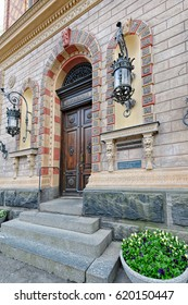 PORI, FINLAND - MAY 18, 2016: Entrance to Pori City Hall, also known as Junneliuksen Palace.