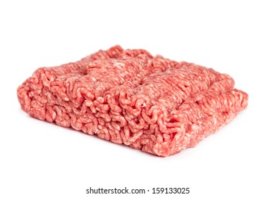 Pork and beef mince isolated on white background