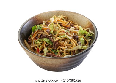 pork beef noodle asian style white background isolated