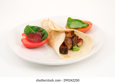 Pork Belly Burrito with Caprese Salad