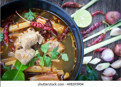 pork bone soup Thai food, Tom yum, Tom Zap pork  bone spicy soup and ingredients
