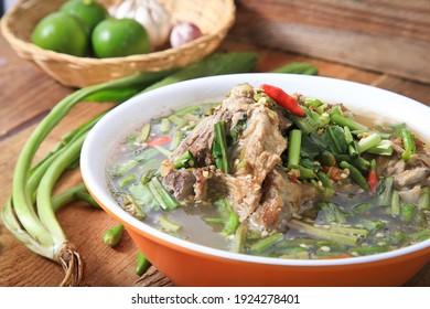 Pork Bone Tom Yum Served with vegetables Spicy Thai food