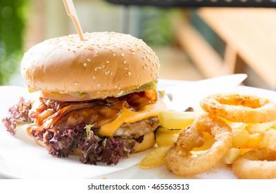 pork burger on the table