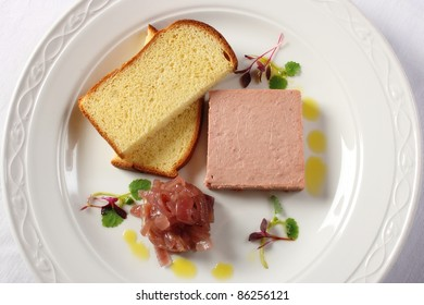 Pork and chicken liver pate served with French toast and caramelized onion chutney