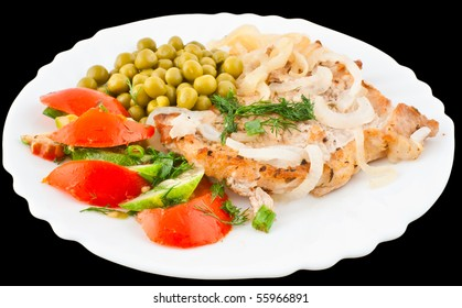 pork chop with potatoes, onions, green peas, tomato and cucumber