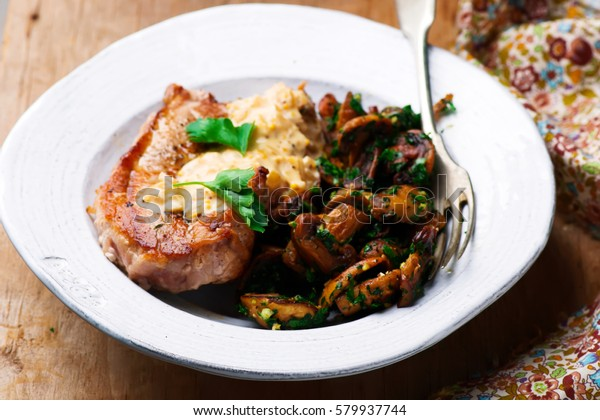 Pork Chops with Mushrooms.selective focus