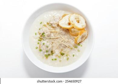 Pork congee with slice deep fried dough stick,top view