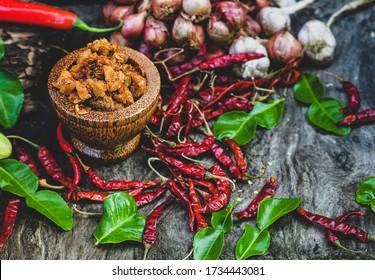 Pork Crackling Chili Paste (Nam Prik Kak Moo), Thai Food spicy ,