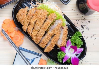 pork deep fried cutlet Japanese food famous, Tonkatsu.