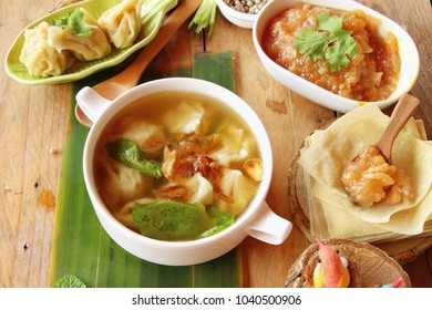Pork dumplings with soup delicious in bowl