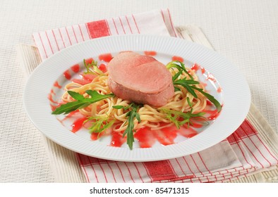 Pork fillet with spaghetti