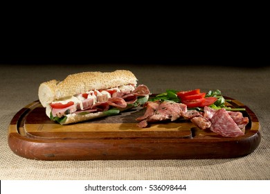 Pork italian sandwich and salami
